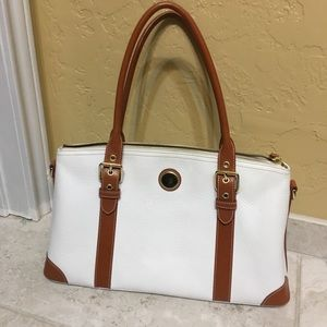 White and brown Dooney and Bourke purse
